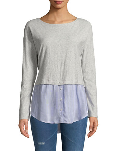 Two By Vince Camuto Mix Layered Top-GREY-Small