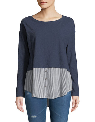 Two By Vince Camuto Mix Layered Top-BLUE-Small