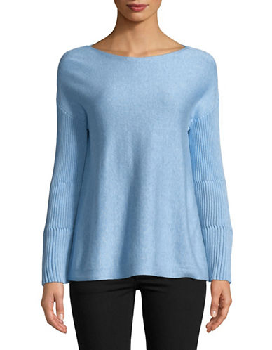 Vince Camuto Ribbed Bell-Sleeve Sweater-BLUE-Small