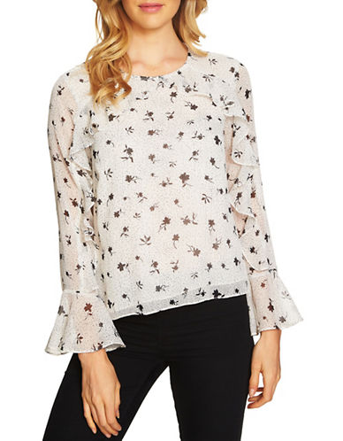 Cece Dotty Floral Ruffled Blouse-WHITE-Small