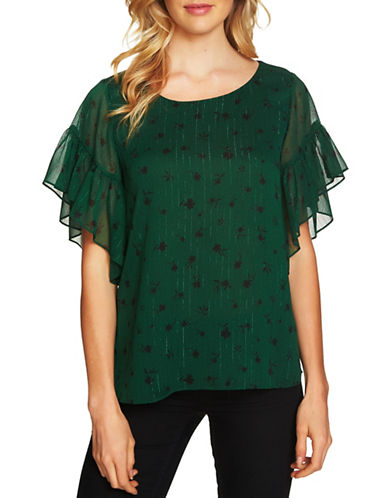 Cece Dotty Floral Flutter Blouse-GREEN-Medium