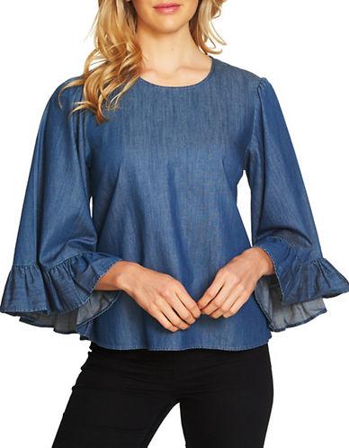 Cece Denim Bell-Sleeve Top-BLUE-Large