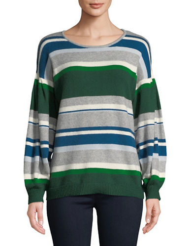 Cece Striped Balloon-Sleeve Sweater-GREY-X-Large