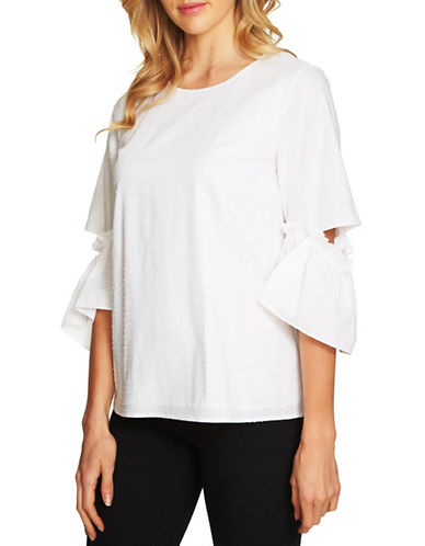 Cece Textured Swiss Dot Cotton Bell-Sleeve Top-WHITE-Small