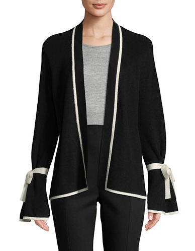 Cece Tipped Bell-Sleeve Cardigan-BLACK-Medium