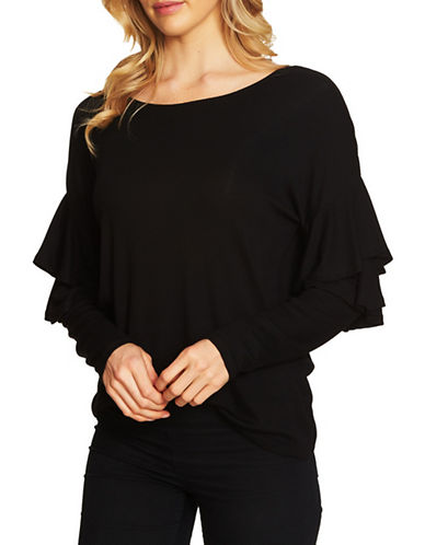 Cece Long-Sleeve Rib-Knit Top-BLACK-Large
