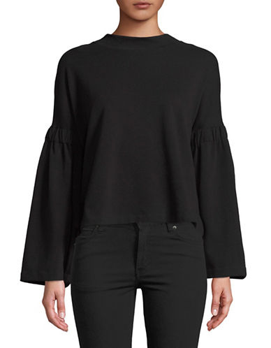 Two By Vince Camuto Bell Sleeve Top-BLACK-Large