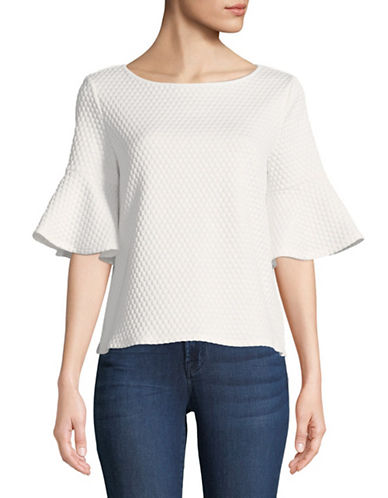 Cece Ruffle-Sleeve Knit Top-WHITE-X-Small