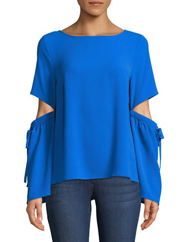 Cece Split Bell-Sleeve Blouse-BLUE-Small