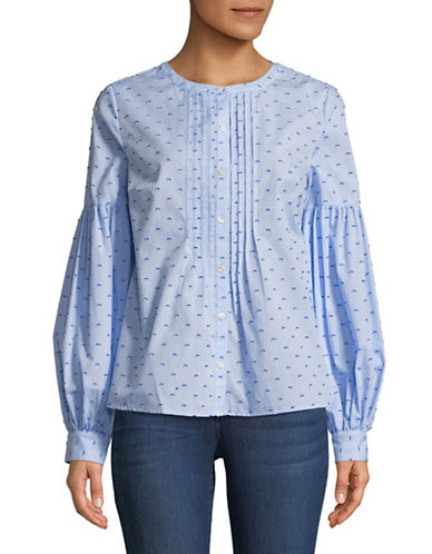 Cece Bubble-Sleeve Pintuck Cotton Top-BLUE-X-Large