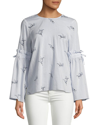 Cece Birdy Stripe Bell-Sleeve Blouse-BLUE-Large