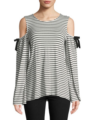 Cece Cold Shoulder Jacquard Stripe Top-NATURAL-Medium