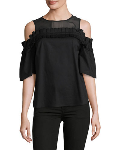 Cece Cold-Shoulder Ruffle Blouse-BLACK-Large