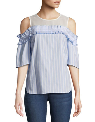 Cece Cold-Shoulder Stripe Blouse-BLUE-Large