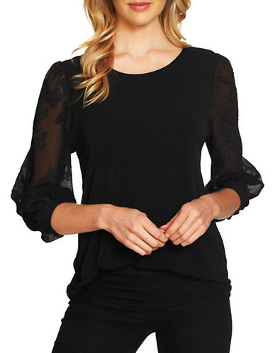Cece Voluminous Lace Sleeve Knit Top-BLACK-Large