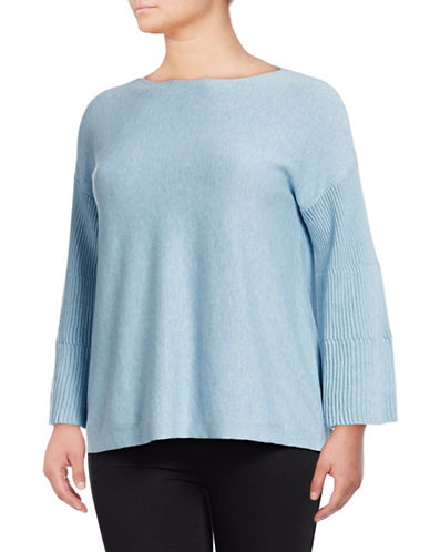 Vince Camuto Plus Ribbed Bell-Sleeve Sweater-BLUE-2X