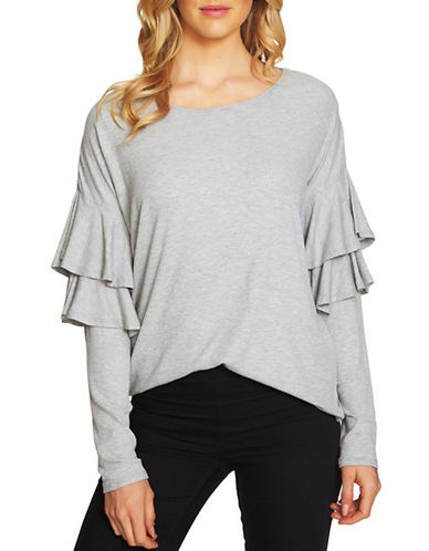 Cece Long-Sleeve Rib-Knit Top-GREY-Medium