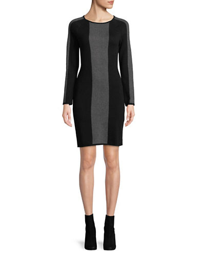 Vince Camuto Birdseye Jacquard Sweater Dress-BLACK-X-Small