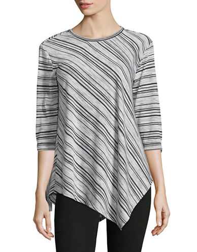 Two By Vince Camuto Striped Three-Quarter Sleeve Top-GREY-X-Small
