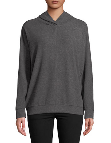Two By Vince Camuto Dolman-Sleeve Brushed Jersey Hoodie-GREY-Large