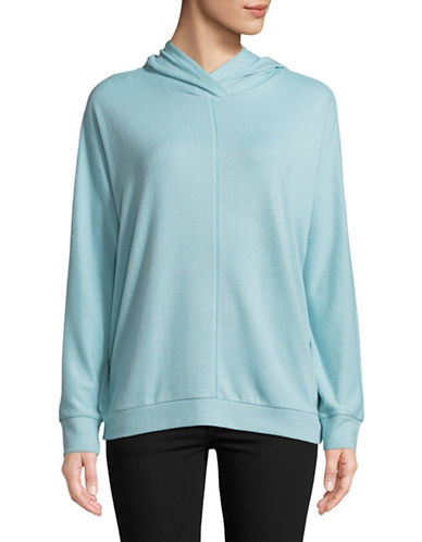 Two By Vince Camuto Dolman-Sleeve Brushed Jersey Hoodie-BLUE-Large