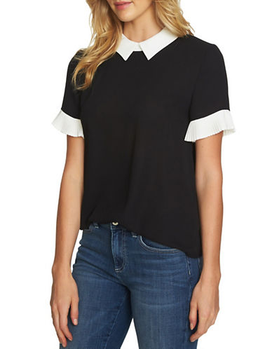 Cece Colourblock Pleated Sleeve Top-BLACK-Small 89887467_BLACK_Small