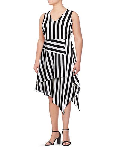 Vince Camuto Plus Striped Asymmetrical Hem Dress 90087780