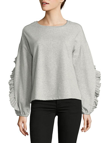 Vince Camuto Long Ruffle-Sleeve Sweater-GREY-X-Large 89913071_GREY_X-Large