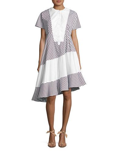 Carven Striped Babydoll Dress-NAVY MULTI-36
