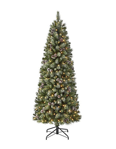 Glucksteinhome Greenery 7ft Emerald Slim Pine Tree with 250 Warm White LED Lights and 758 Mixed Glitter Tips