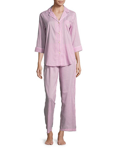 Lauren Ralph Lauren Striped Pajama Top and Pants Set-PINK-Small