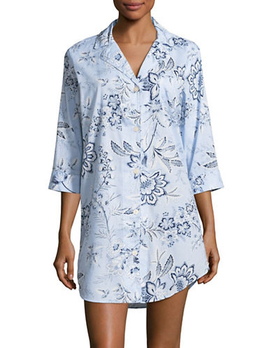 Lauren Ralph Lauren Floral Sleep Shirt-BLUE-X-Large