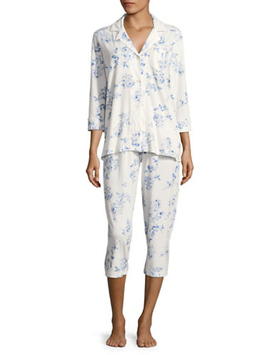 Lauren Ralph Lauren PLUS Cotton Notch Collar Capri Pyjama Set Plus-WHITE-2X
