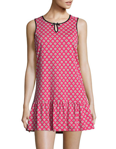 Kate Spade New York Pink Poppy Jersey Peplum Chemise-RED-Small