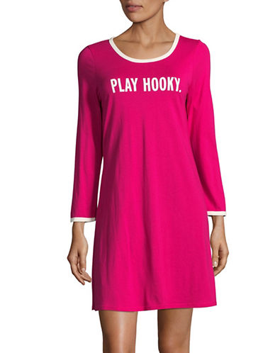 Kate Spade New York Long Sleeve T-Shirt Dress-PINK-X-Large