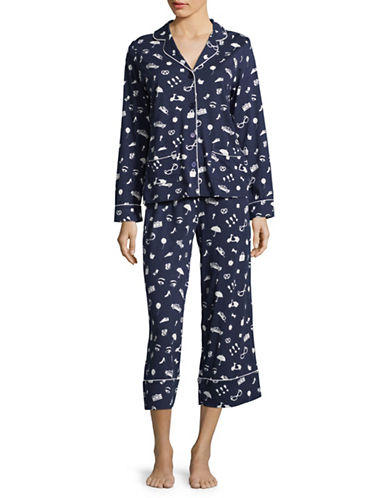 Kate Spade New York Mixed Print Capri Pyjama Set-BLUE-X-Large