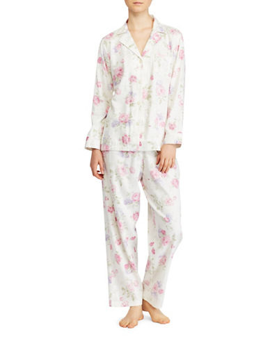 Lauren Ralph Lauren Rose Notch Collar Pajamas-WHITE-X-Large
