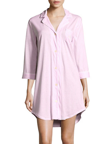 Lauren Ralph Lauren Striped Sleep Shirt Plus-PINK-3X