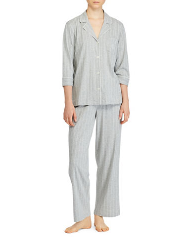 Lauren Ralph Lauren Cotton Jersey Notch Pajamas-GREY-Large