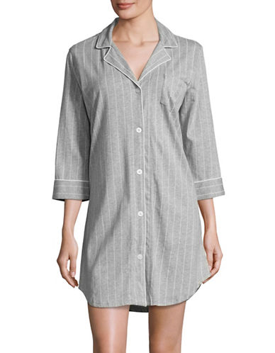 Lauren Ralph Lauren Cotton Jersey Notch Collar Sleepshirt-GREY-Medium