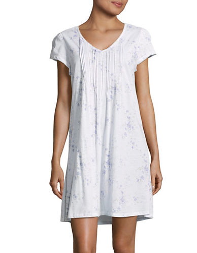 Lauren Ralph Lauren Short Sleeve Cotton Gown-WHITE-Large 89345076_WHITE_Large