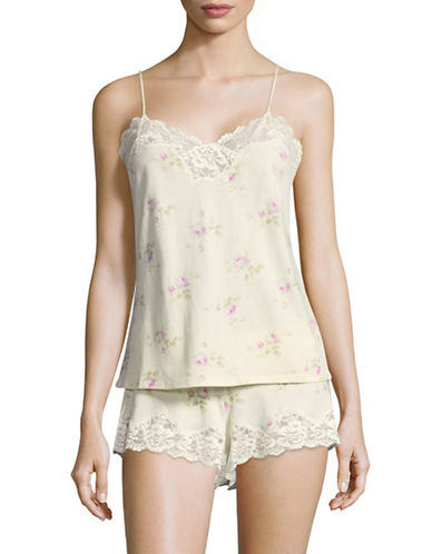 Lauren Ralph Lauren Two-Piece Pima Cotton-Modal Lace PJs-WHITE-X-Large
