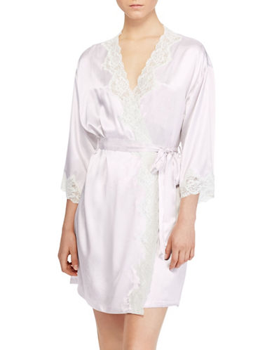 Lauren Ralph Lauren Satin and Lace Kimono Robe-PINK-X-Large