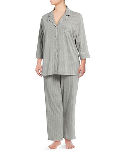 Lauren Ralph Lauren Plus Cotton Jersey Notch Pyjamas-GREY-3X