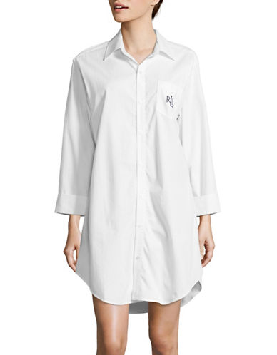 Lauren Ralph Lauren Cotton Dobby His Shirt Sleepshirt-WHITE-X-Large 89345100_WHITE_X-Large
