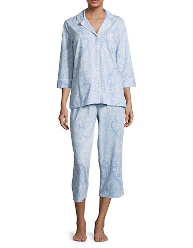 Lauren Ralph Lauren Paisley Print Capri Pyjama Set-BLUE-X-Large