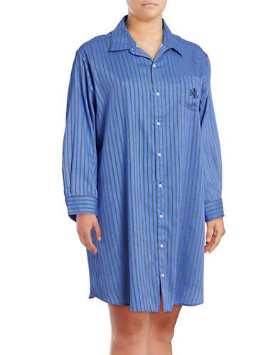 Lauren Ralph Lauren Plus Stripe Button-Up Sleep Shirt-BLUE-2X