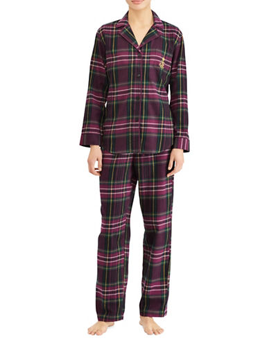 Lauren Ralph Lauren Plaid Cotton Pyjama Set-PURPLE PLAID-Large