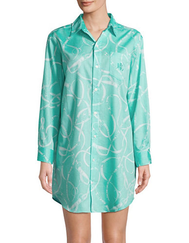Lauren Ralph Lauren Printed Cotton Sleepshirt-BLUE-Medium