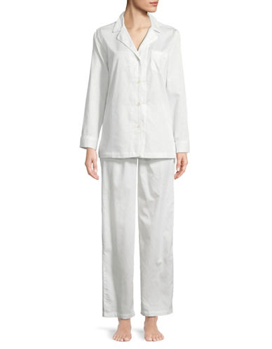 Lauren Ralph Lauren Two-Piece Notch Pyjama Set-WHITE-X-Large